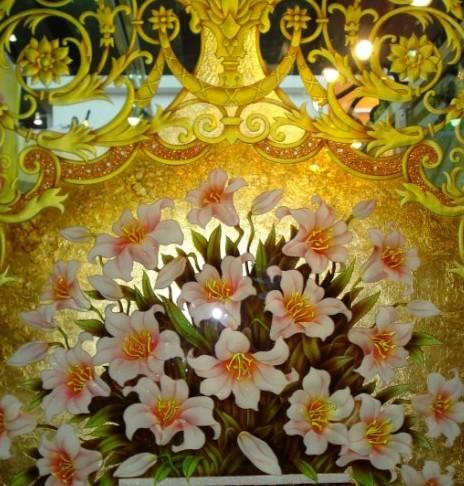 将刻有文字或图案,花纹的玻璃,作为装饰品
